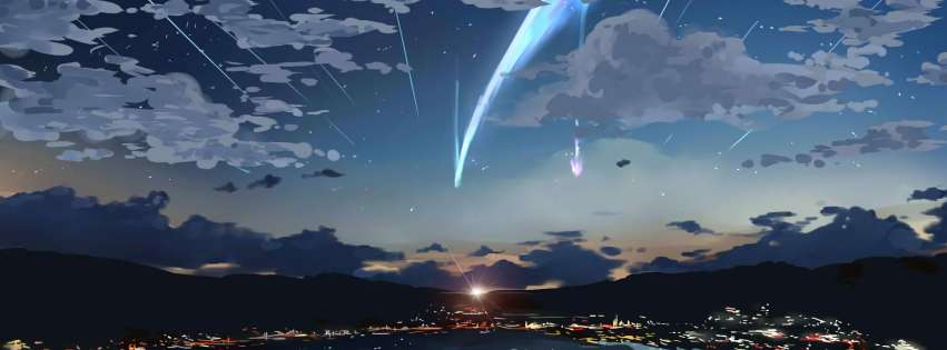 Anime Your Name Starfall Over The City Facebook cover photo