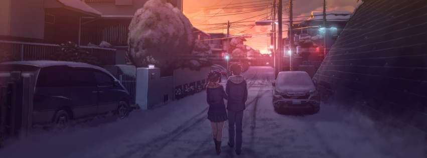Anime Your Name Walking Together Facebook cover photo