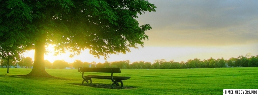 Bench in Morning Sunrise Facebook cover photo