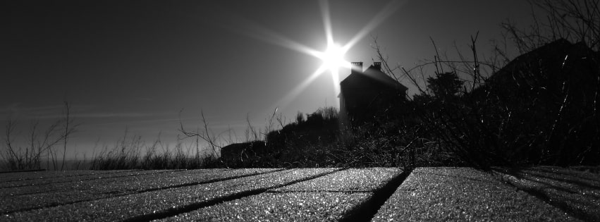 Black and White Photo of a Lake House Facebook cover photo