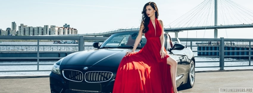 Bmw and a Lady in Red Facebook cover photo