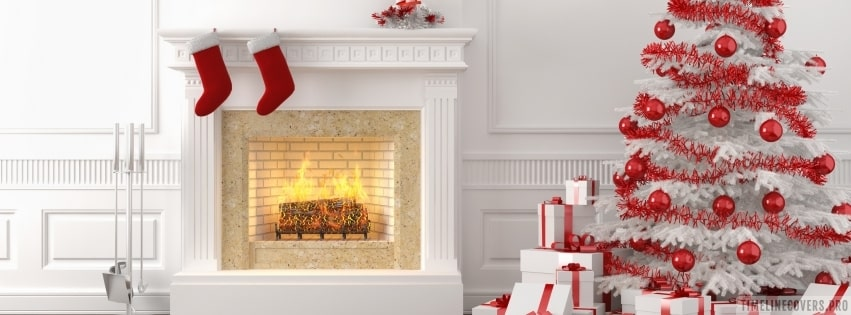 Christmas Boots at Fireplace Facebook cover photo