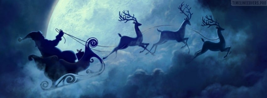 Christmas Santa Claus and Reindeers Traveling Facebook cover photo