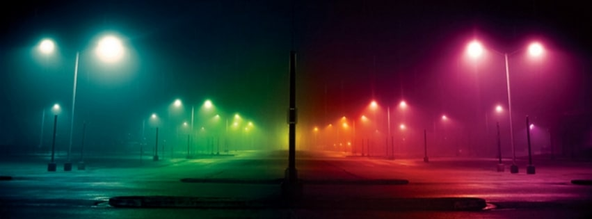 Colored Lights at Night Facebook cover photo