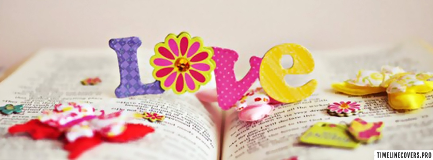Colorful Love on Book Facebook cover photo