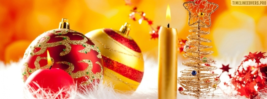 Colorful Christmas Decorations Facebook cover photo
