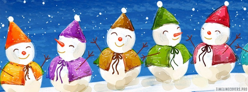 Colorful Christmas Snowman Facebook cover photo