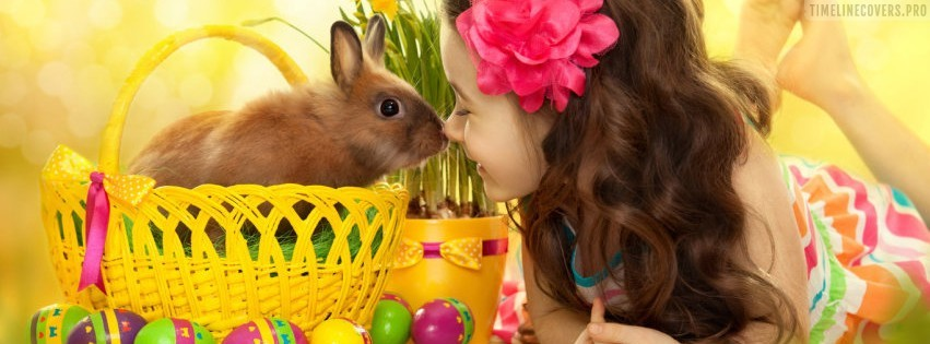 Cute Easter Nose Kiss Facebook cover photo