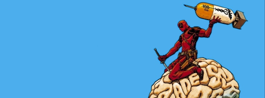 Deadpool Messing with a Brain Facebook cover photo