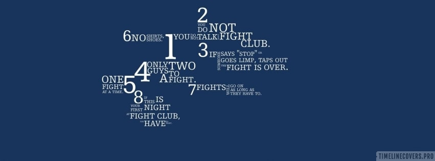 Fight Club Rules in Blue Facebook cover photo