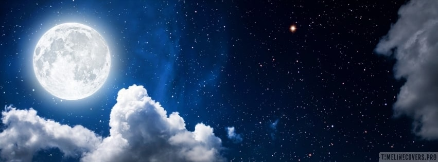 Full Moon on Starry Night Facebook cover photo