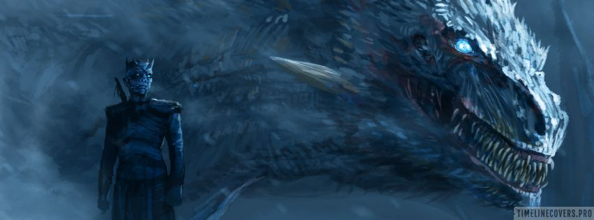 Game of Thrones White Walker and Dragon Facebook cover photo