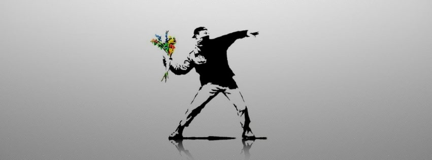 Graffiti Throwing Flowers Facebook cover photo
