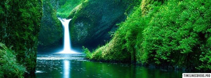 Green Forest Waterfall Facebook cover photo