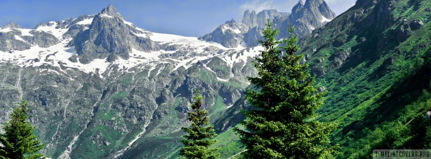 Green Forest with Mountain Facebook cover photo