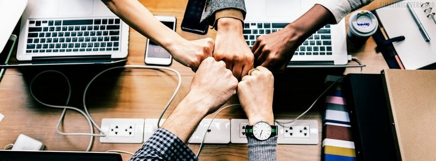 Group Hand Fist on Business Meeting Facebook cover photo