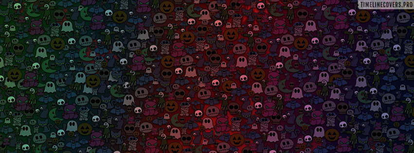 Happy Halloween with Many Ghosts Facebook cover photo