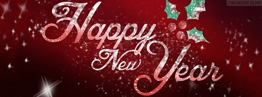 Happy New Year Red Facebook cover photo