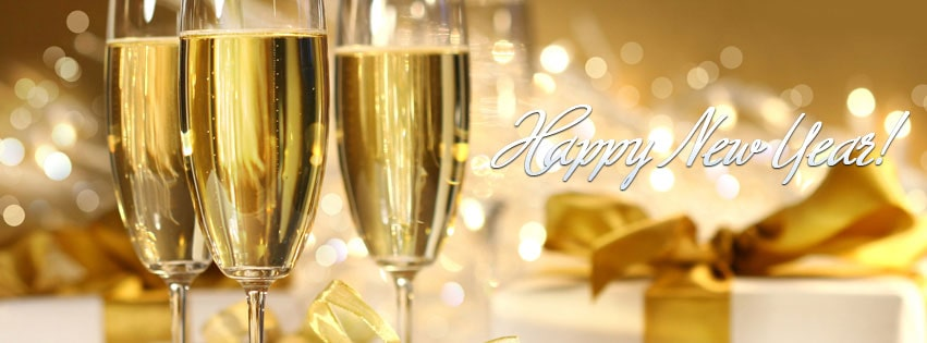 Happy New Year Drinks Facebook cover photo