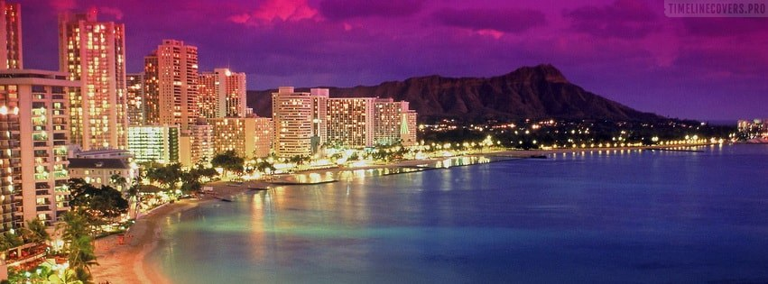 Hawaii beach by night Facebook cover photo