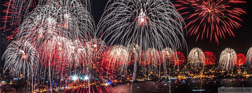 Huge New Year Fireworks Facebook cover photo