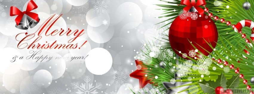 Merry Christmas Ornaments Facebook cover photo
