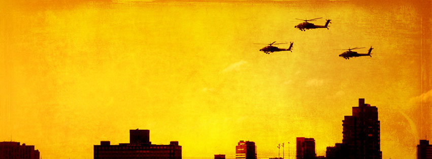 Military Helicopters Over The City Facebook cover photo