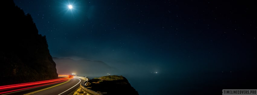Mountain Road on a Starry Night Timelapse Facebook cover photo