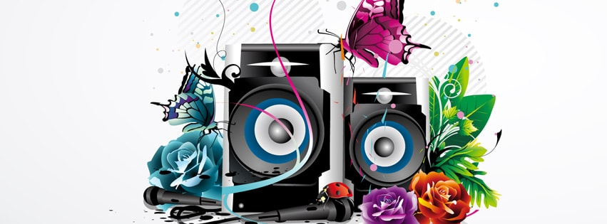 Subwoofers and butterflies Facebook cover photo