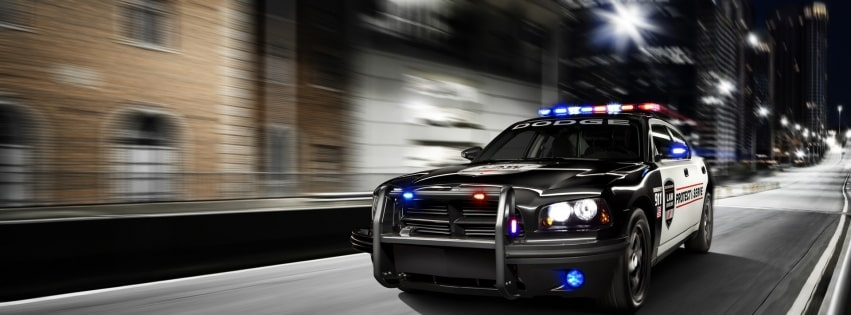 Police Car in Action Facebook cover photo