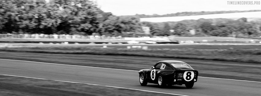 Racing Coupe Grayscale Facebook cover photo
