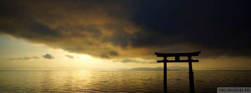 Religious Itsukushima Gate in Japan Facebook cover photo