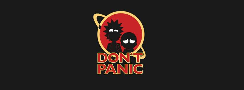Rick and Morty Do Not Panic Facebook cover photo