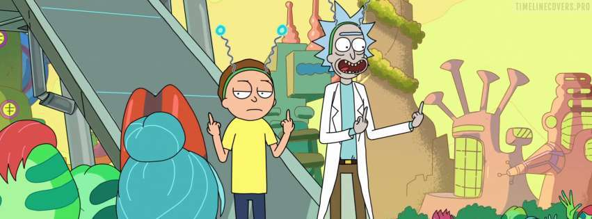 Rick and Morty Fingers Facebook cover photo