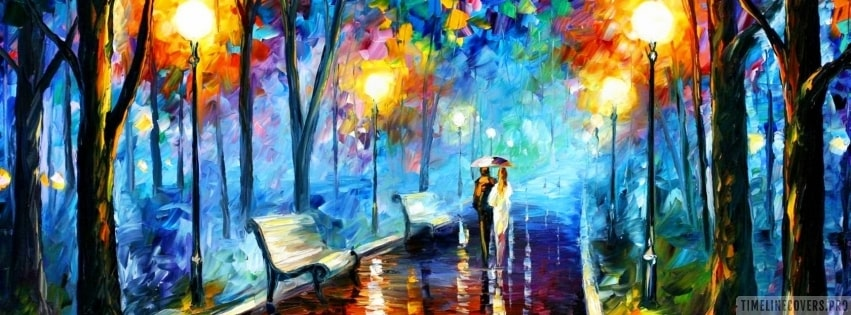 Romantic Walking Together Painting Facebook cover photo