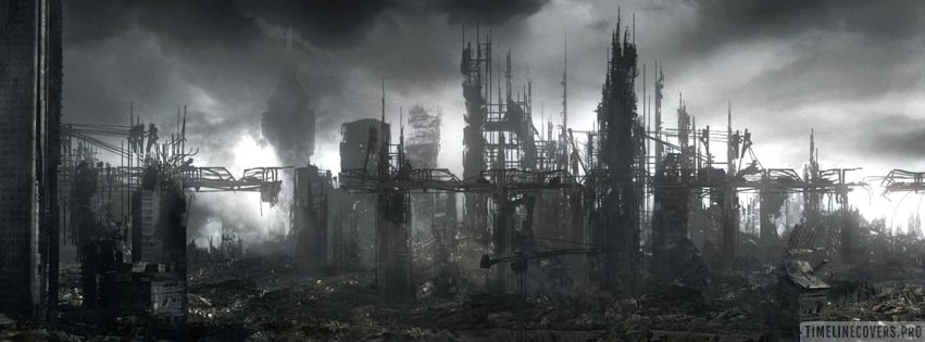 Sci Fi Post Apocalyptic Cityscape Facebook cover photo