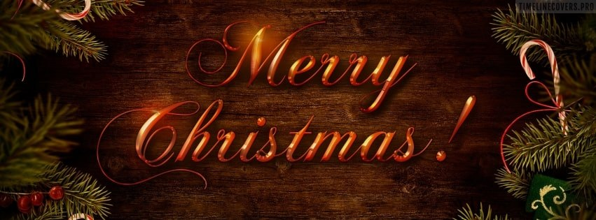 Shiny Merry Christmas on Wooden Table Facebook cover photo