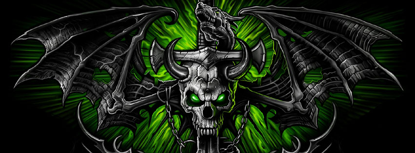 Skull and Dragon Facebook cover photo