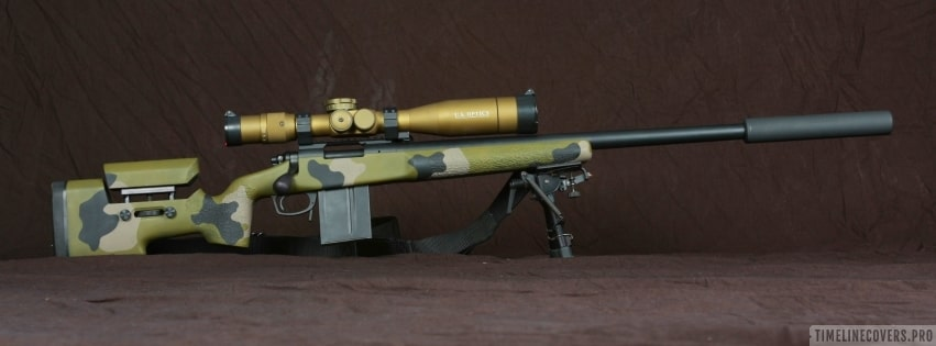 Sniper Rifle in Army Colors Facebook cover photo