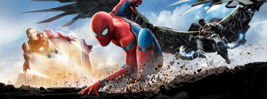 Spider Man Homecoming with Iron Man Facebook cover photo