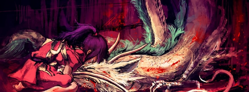 Spirited Away Girl and Her Dragon Facebook cover photo