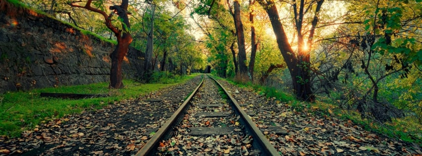 Sunset at a Green Railroad Facebook cover photo