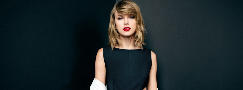 Taylor Swift on Gray Background Facebook cover photo