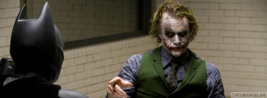 The Dark Knight Joker Pointing on Batman Facebook cover photo