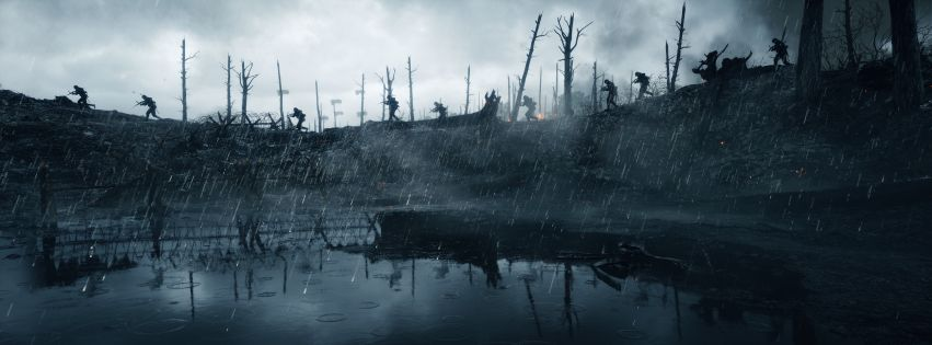 Video Game Battlefield 1 Fighting in Rain Facebook cover photo