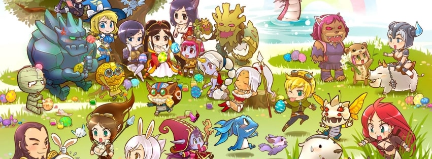 Video Game League of Legends Cute Drawing Facebook cover photo