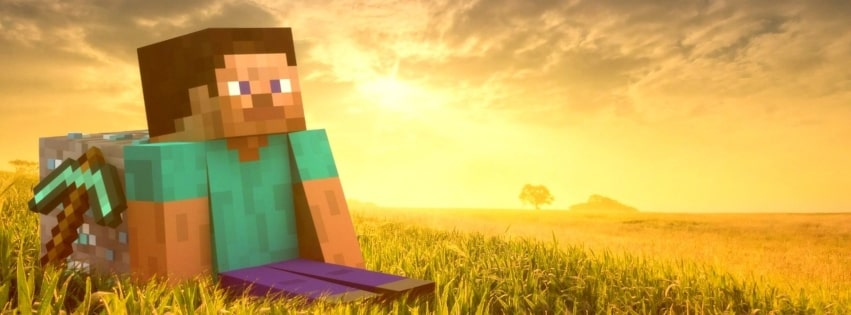 Video Game Minecraft Admiring The Sunset Facebook cover photo