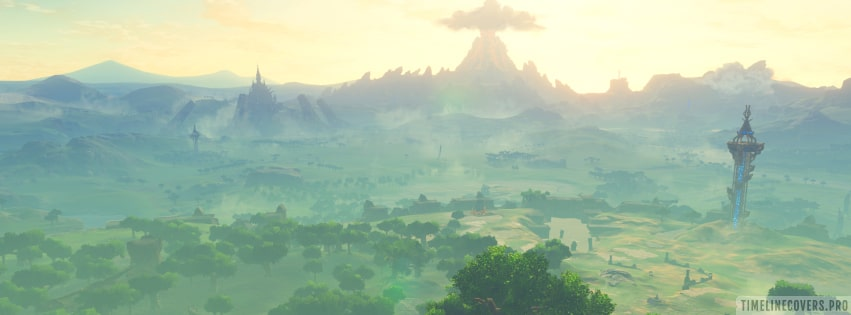 Video Game The Legend of Zelda Breath of The Wild Landscape Facebook cover photo