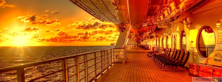 View of The Sunset from The Disney Fantasy Oceanliner Deck Facebook cover photo