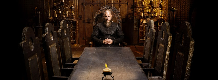 Vikings Ragnar Lothbrok Travis Fimmel at Table Facebook cover photo